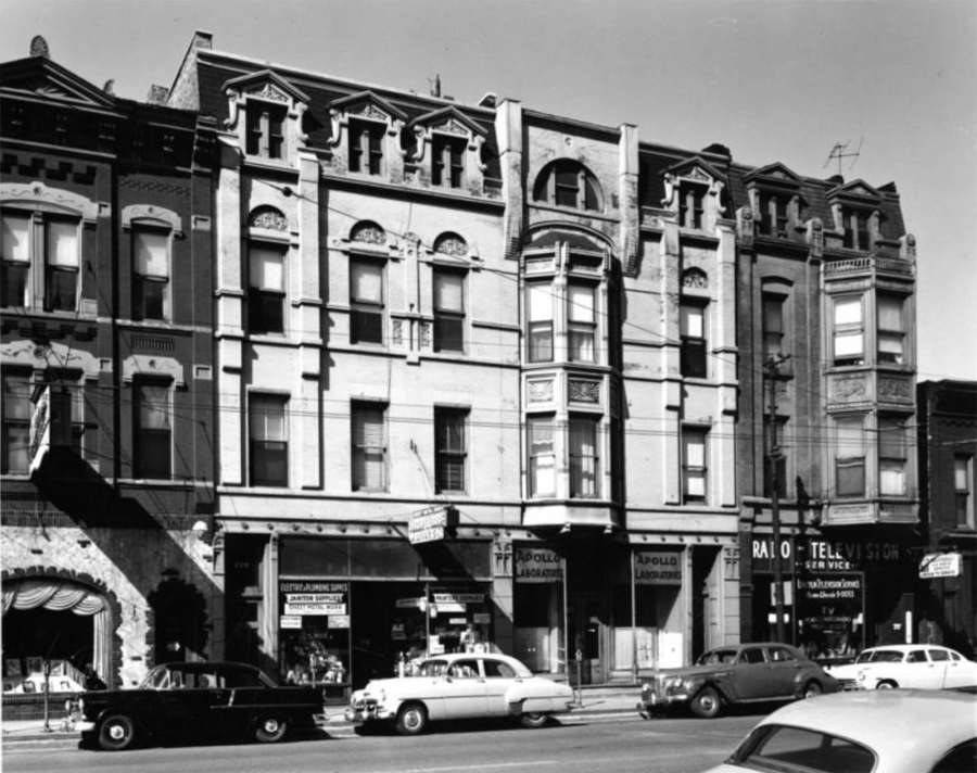 Richard Nickel photograph of Ferdinand Kaufmann store and flats. [Ryerson and Burnham Libraries Book Collection, Ryerson and Burnham Archives, The Art Institute of Chicago.]