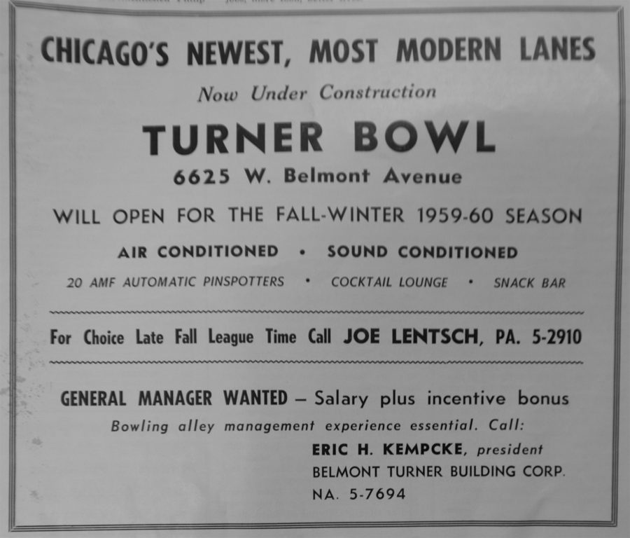 Newsletter advertisement from American Turners - Northwest Chicago boasting the new bowling facilities