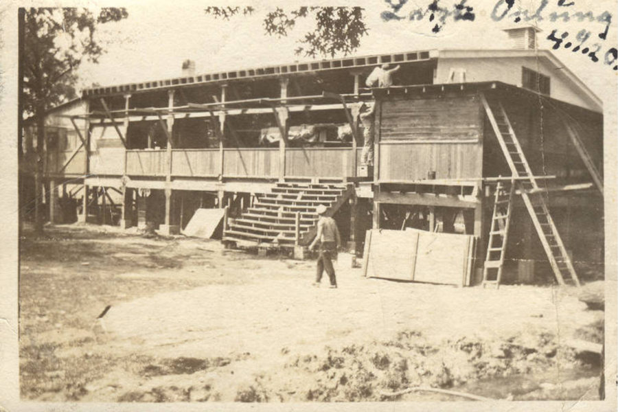 Circa 1920 photo showing construction of Illinois Turner Camp [American Turners Collection, IUPUI University Library Special Collections and Archives]