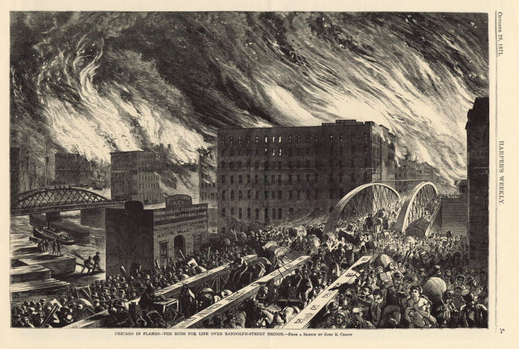 Harper's Weekly sketch depicting Randolph Street at the Chicago River during the Great Chicago Fire. The Crane Company building would have been a block away from this scene.