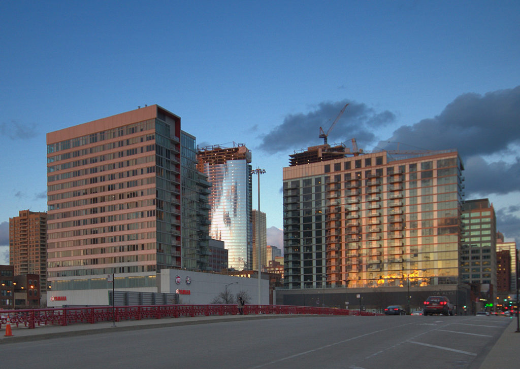 View of contemporary high-rise residential tower developments in the West Loop, east of the Kennedy Expressway. Viewing east from 700 block of West Washington Boulevard.
