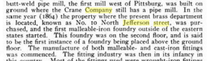 "Excerpt from ""Marine Engineering, Vol. 10"" describing the Crane Company 1864 expansion on North Jefferson Street."