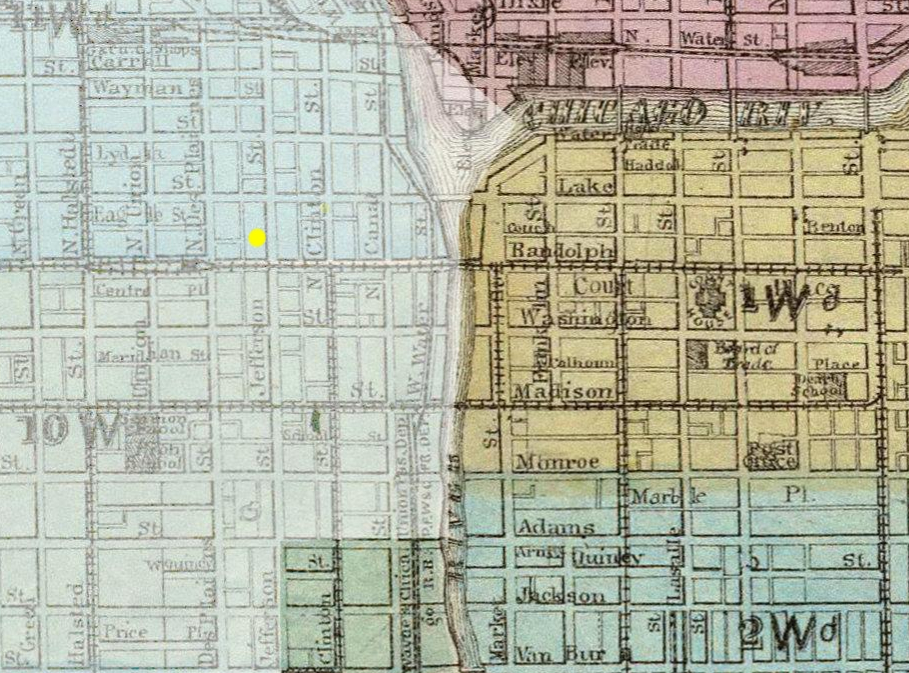Map of the 1871 Great Chicago Fire coverage. Areas shaded in white were not affected, including 154 North Jefferson Street located at the yellow dot.