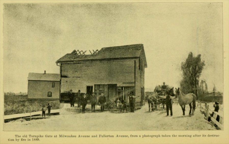 1889 photo showing the destroyed toll house at Fullerton and Milwaukee. From The Town of Jefferson, by Alfred Bull