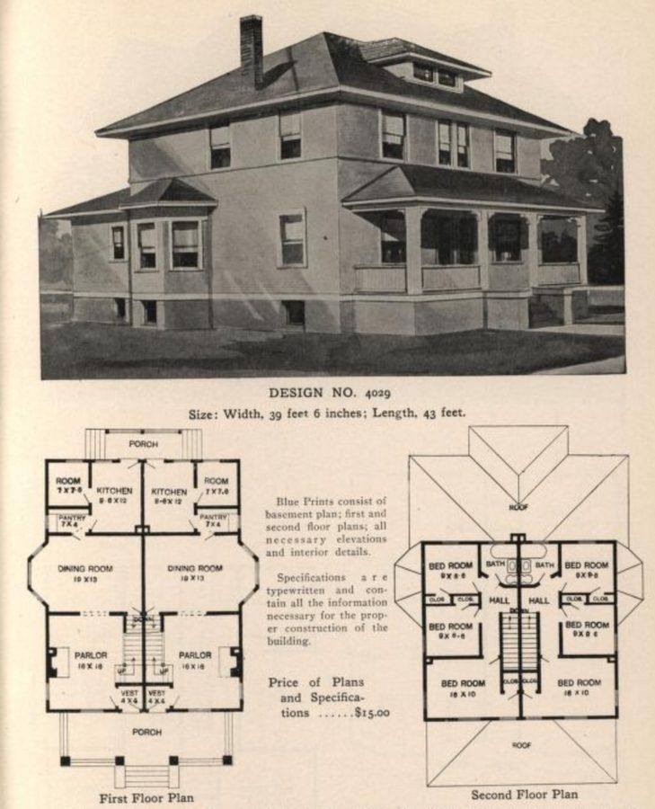 Plans for an American Four Square house, from Radford's Stores and Flats Catalog