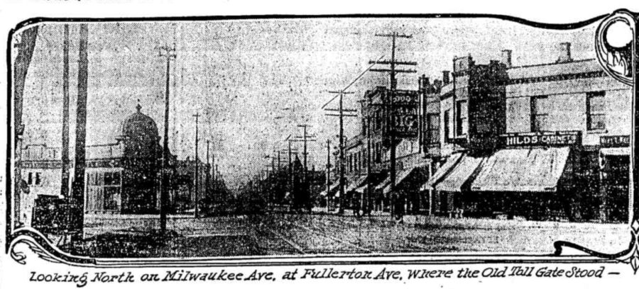 Illustration of where toll house was once located on Fullerton and Milwaukee. [Chicago Tribune, Mar 26, 1911]