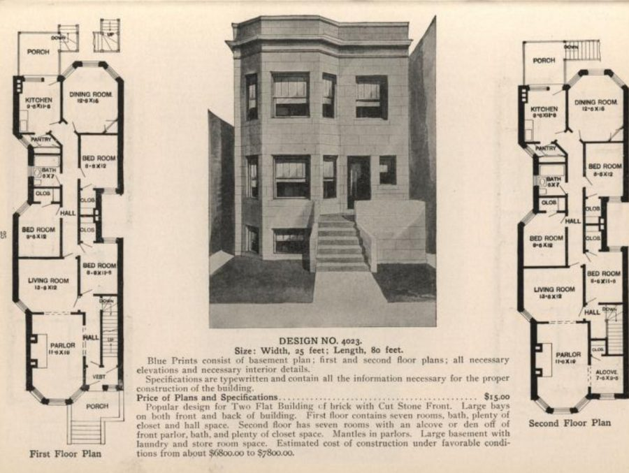 Floorplan for a typical Chicago greystone, from Radford's Stores and Flats catalog, 1909