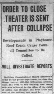December 11, 1912, Chicago Inter Ocean detailing roof collapse of Home Theater