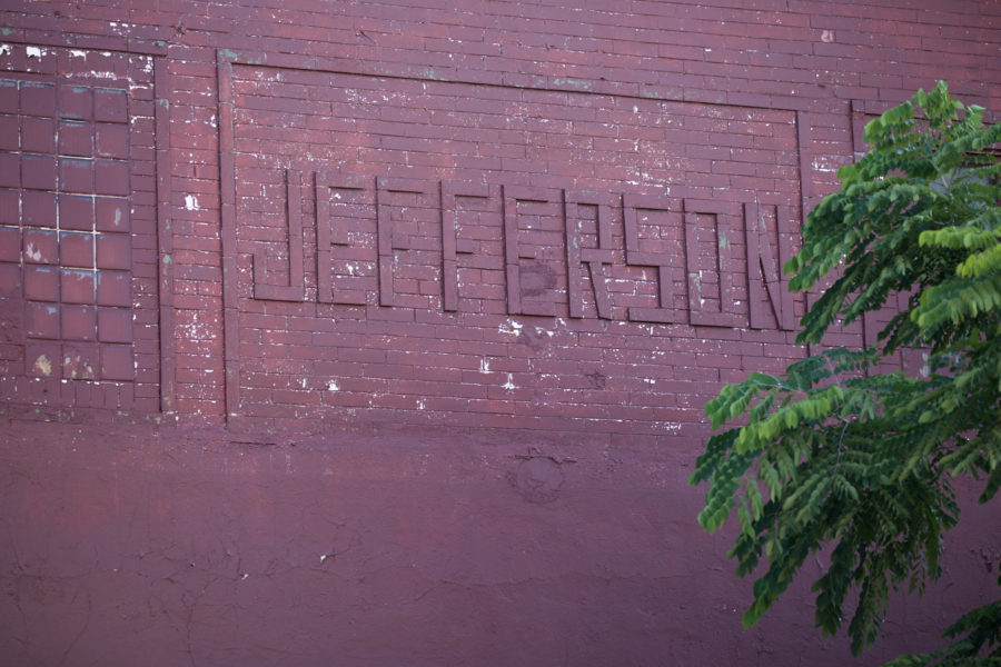 "Brickwork with ""Jefferson"" revealing the history of this otherwise ordinary appearing building [John Morris/Chicago Patterns]"
