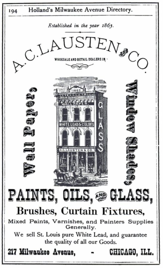 Ad for A.C. Lausten and Company, from 1875 Holland's Milwaukee Avenue Directory