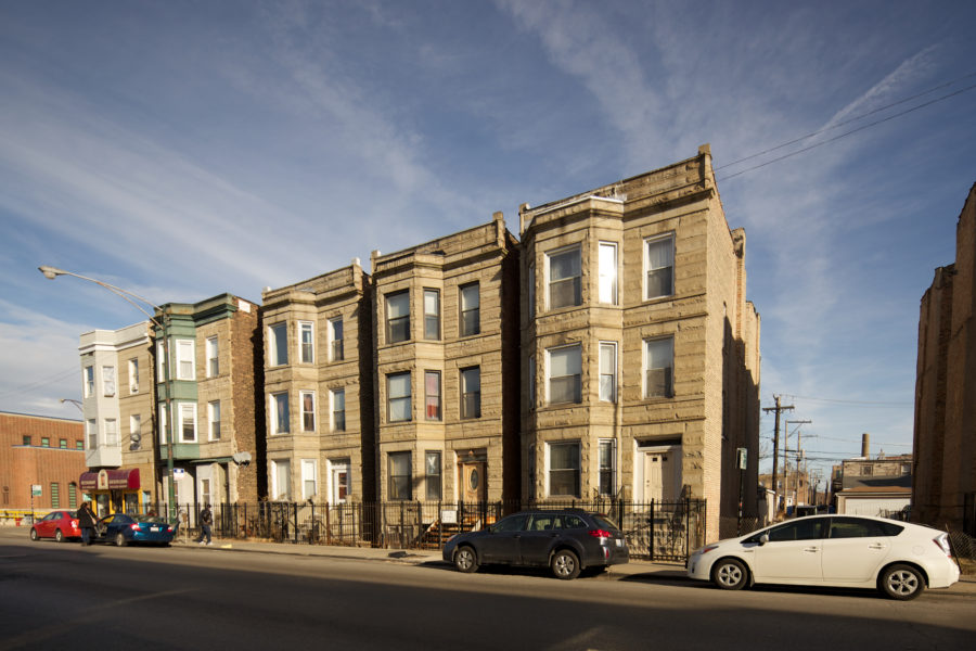 Greystone three-flats at Milwaukee and California [John Morris/Chicago Patterns]