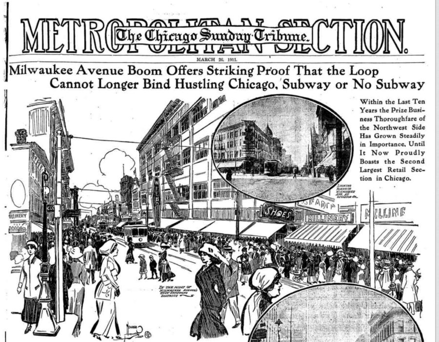 Front page of the Tribune in 1911 highlights an area rapidly growing [Chicago Tribune, March 26, 1911]