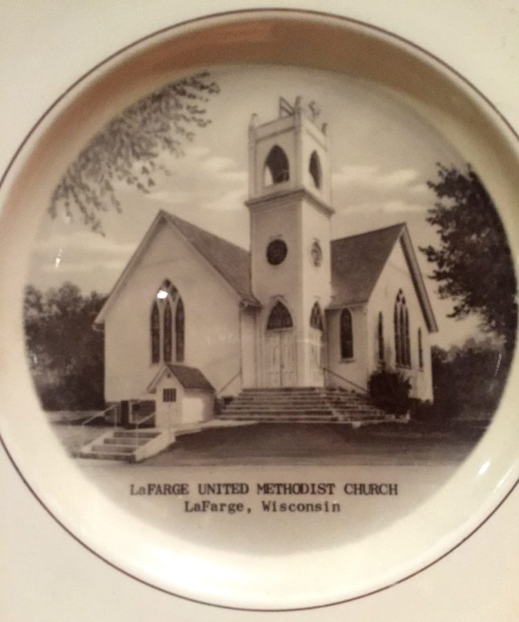 A commemorative plate from the Wisconsin church where diamond windows were salvaged for 5732 North New Hampshire Avenue [courtesy of Curtis Cornwell]