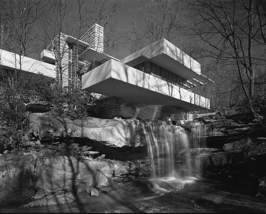 Fallingwater, Wright's most famous work, not long after its completion in 1937 when the architect was 70 years old. [Hedrich Blessing]