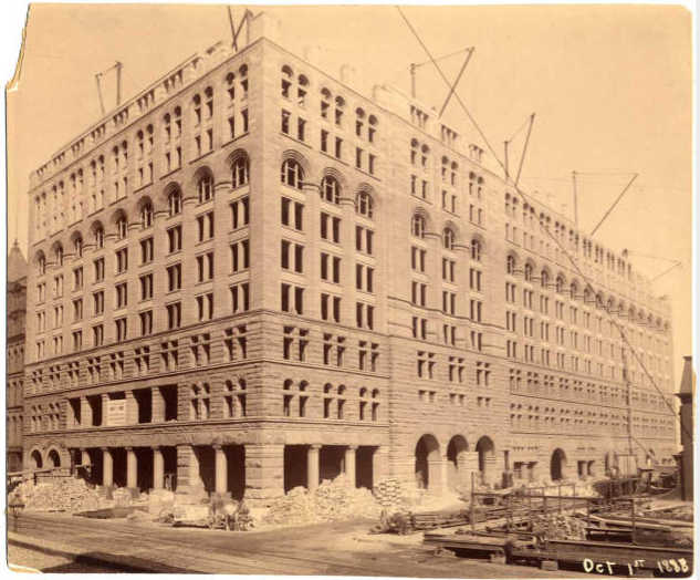 Adler & Sullivan's Auditorium Building (1887-89) under construction in 1888. [Sullivaniana Collection]