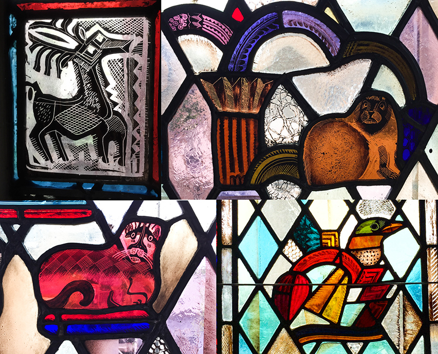 animal menagerie from Edgar Miller's stained glass [Eric Allix Rogers/Chicago Patterns]