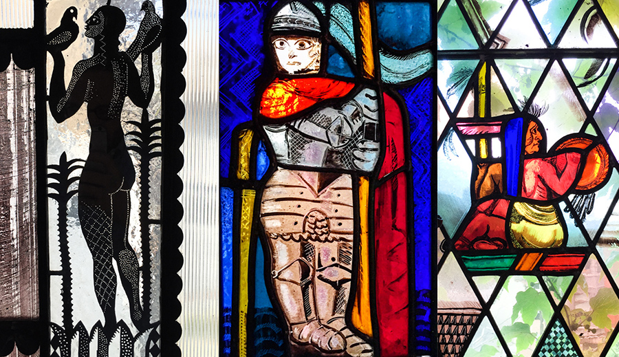 people of Edgar Miller's stained glass [Eric Allix Rogers/Chicago Patterns]