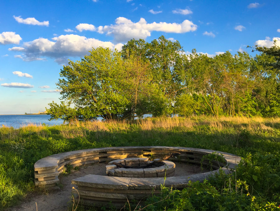 Fire circle at South Shore Nature Sanctuary [Eric Allix Rogers/Chicago Patterns]