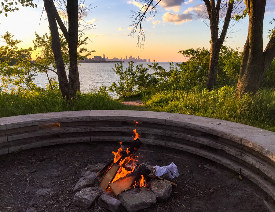 Fire circle and skyline view at South Shore Nature Sanctuary [Eric Allix Rogers/Chicago Patterns]
