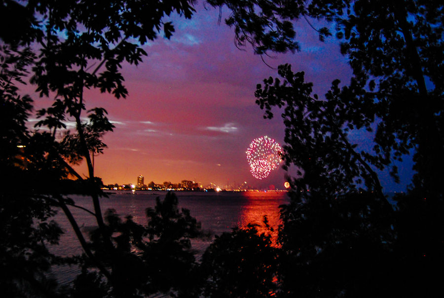 Fireworks from the South Shore Nature Sanctuary [Eric Allix Rogers/Chicago Patterns]