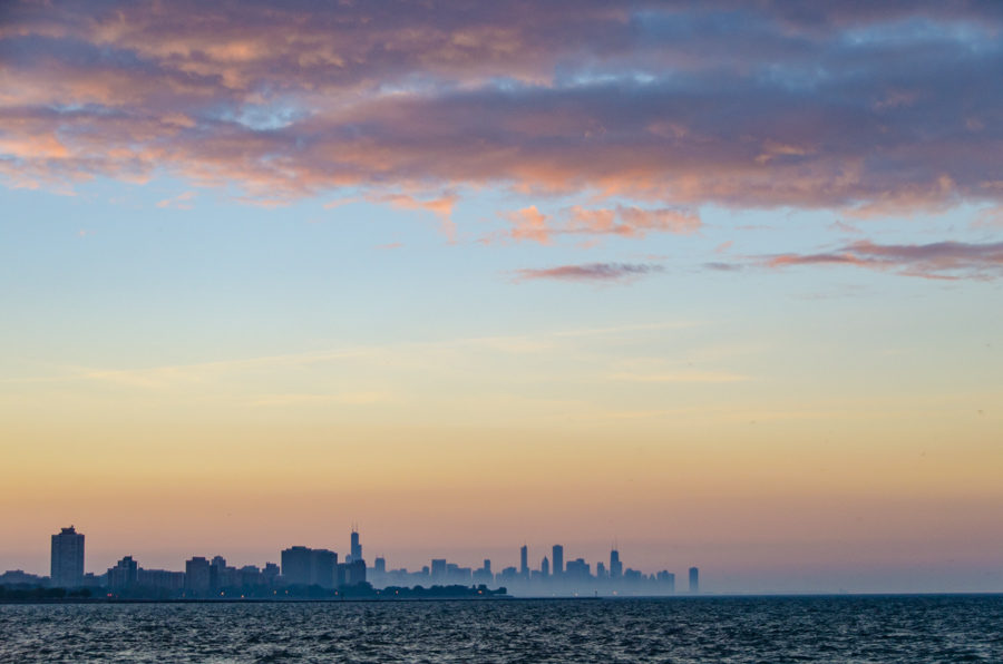 Skyline sunset from the South Shore Nature Sanctuary [Eric Allix Rogers/Chicago Patterns]