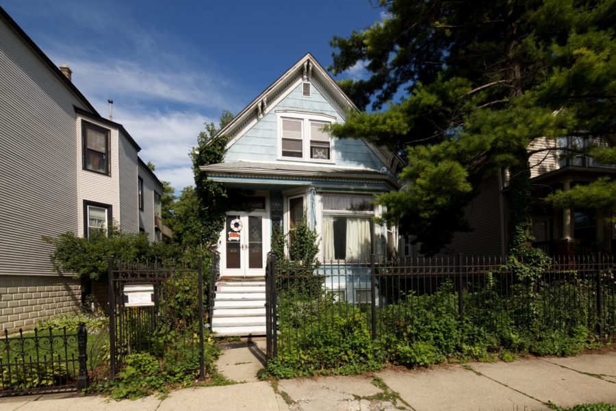 Blue Victorian Cottage in Logan Square